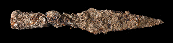 A spearhead from the battle against Titus' army. Photo by Clara Amit, courtesy of the Israel Antiquities Authority