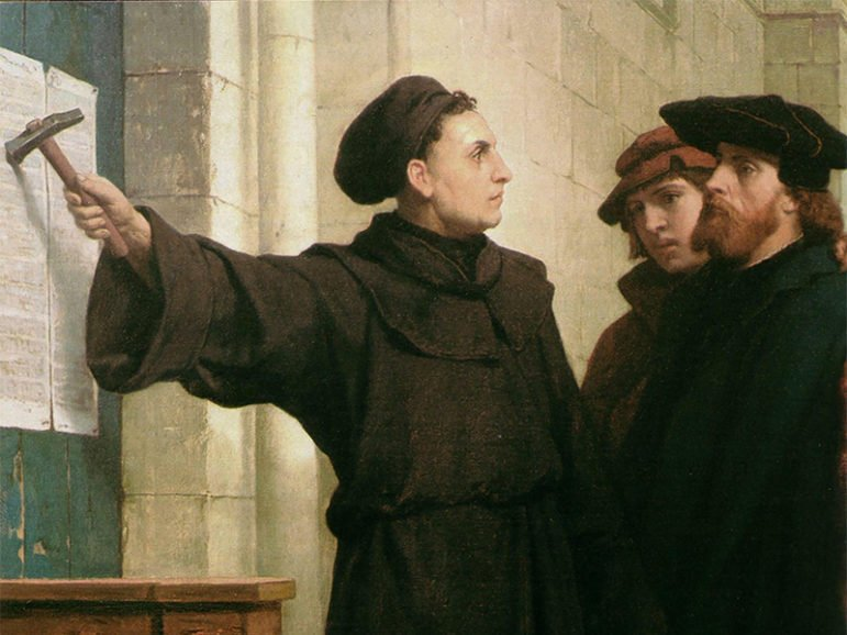 Artist Ferdinand Pauwels' 1872 piece, 'Luther Posting the 95 Theses' depicting Martin Luther's act in 1517.  Image courtesy of Wikimedia Commons