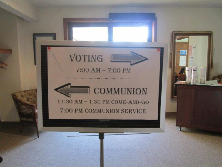 A sign for voting and communion at Central United Methodist Church in Lawrence, Kan. Photo courtesy of Election Day Communion