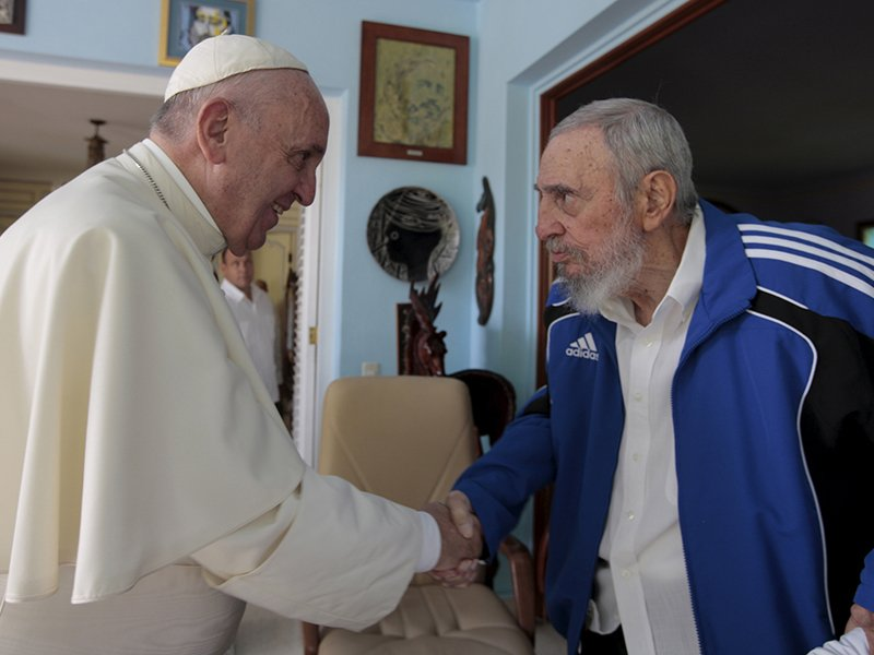 Pope Francis meets with former Cuban President Fidel Castro in Havana, Cuba, on September 20, 2015. Photo courtesy of Reuters/Alex Castro-Castro Family/Handout via Reuters *Editors: This photo may only be republished with RNS-CASTRO-FAITH, originally transmitted on November 28, 2016.