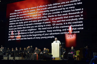 Pope Francis speaks during a meeting at the Malmo Arena in Malmo