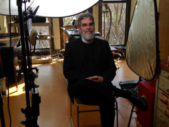 Br. Guy Consolmagno, Director, Vatican Observatory with Fourth Line Films crew at Loyola University Maryland. Photo courtesy of AAAS/ Christine A. Scheller