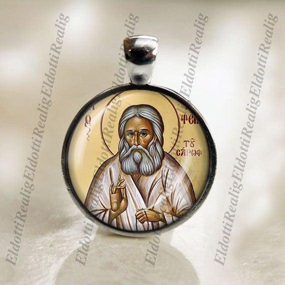 St. Seraphim of Sarov Orthodox Christian Religious Christian Medal Pendant.