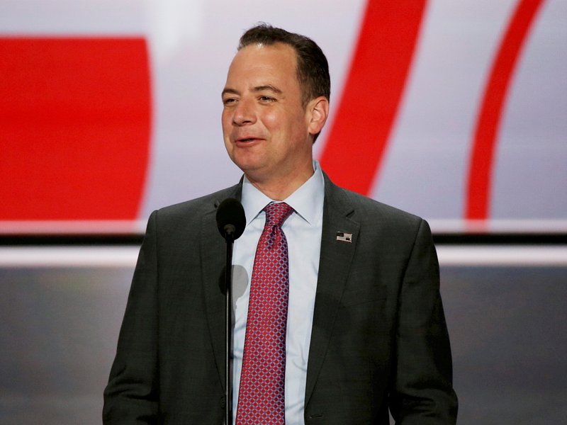 Reince Priebus, Chairman of the Republican National Committee stands at the main podium as he previews the stage at the Republican National Convention in Cleveland, Ohio, on July 17, 2016. Photo courtesy of Reuters/Mike Segar/File Photo