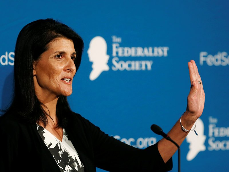 Republican South Carolina Governor Nikki Haley delivers remarks at the Federalist Society 2016 National Lawyers Convention in Washington, on November 18, 2016. Photo couretsy of Reuters/Gary Cameron