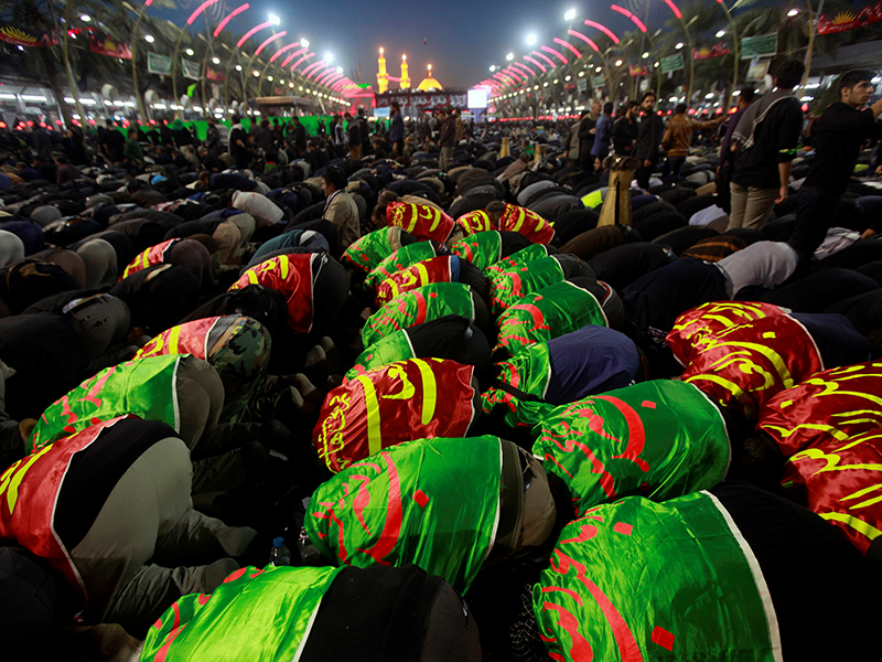 Shi'ite Muslim pilgrims gather as they commemorate the Arbaeen, in Kerbala, southwest of Baghdad, Iraq, on November 20, 2016. Photo courtesy of Reuters/Alaa Al-Marjani *Editors: This photo may only be republished with RNS-ARBAEEN-IRAQ, originally transmitted on Nov. 21, 2016.