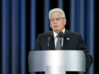 German President Joachim Gauck delivers a speech during a ceremony commemorating the victims of Babyn Yar (Babi Yar), one of the biggest single massacres of Jews during the Nazi Holocaust, in Kiev, Ukraine, on September 29, 2016. Photo courtesy of Reuters/Valentyn Ogirenko *Editors: This photo may only be republished with RNS-GERMAN-PRESIDENT, originally transmitted on Nov. 7, 2016.