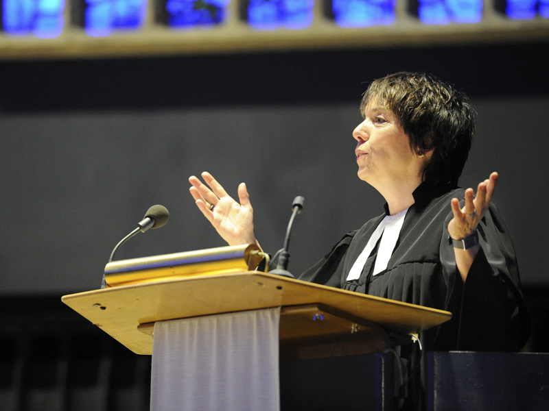 Lutheran theologian Margot Kaessmann addresses guests from the pulpit after being made the Evangelical Church in Germany's (EKD) ambassador to the 2017 Reformation Jubilee, during a mass at the Kaiser Wilhelm Memorial Church in Berlin on April 27, 2012. Photo courtesy of Reuters/Hanno Gutmann/Evangelischer Pressedienst/Pool *Editors: This photo may only be republished with RNS-GERMAN-PRESIDENT, originally transmitted on Nov. 7, 2016.