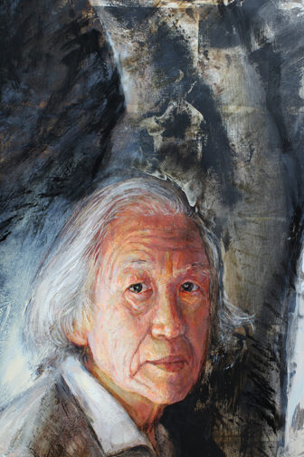 "Portrait of Osamu Fujimura (detail of QU4RTETS No.4, Winter) ©Bruce Herman, 2012; 97"" x 60""; oil and silver leaf on wood. Photo courtesy of Bruce Herman (http://www.bruceherman.com) *NOTEThis image can only be used once with Jeff MacDonald's article."