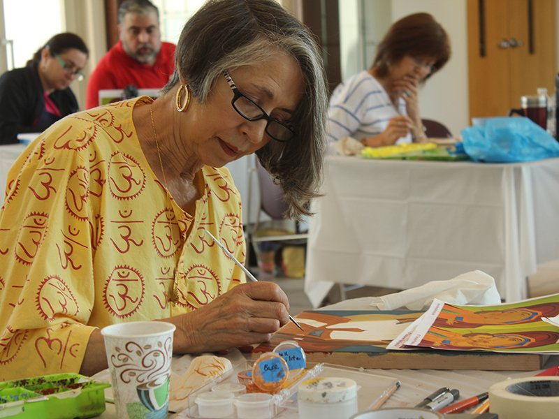 Anna Schalk of Alexandria, Va., works on an icon during a class at St. Sophia Greek Orthodox Cathedral in Washington, D.C. in June 2016. RNS photo by Adelle M. Banks