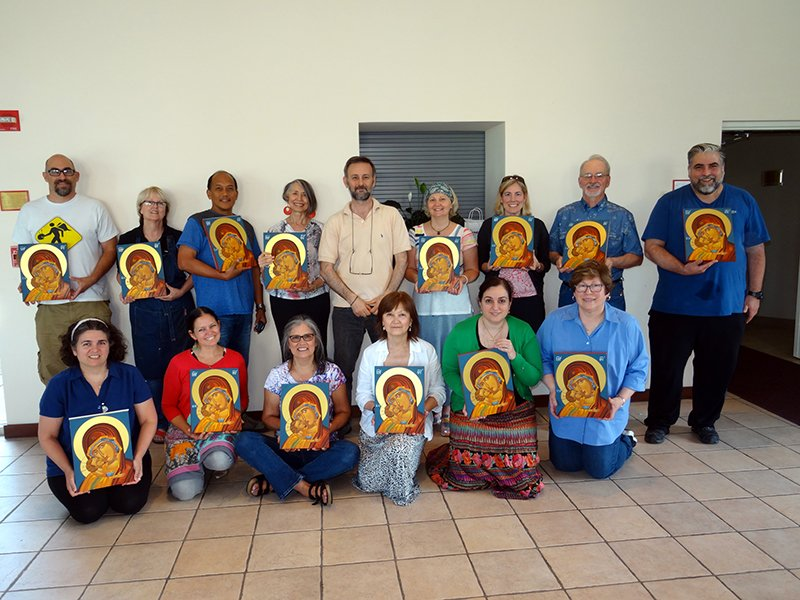 Students show off their finished painting after the workshop at Saint Sophia. Photo courtesy of Theodoros Papadopoulos