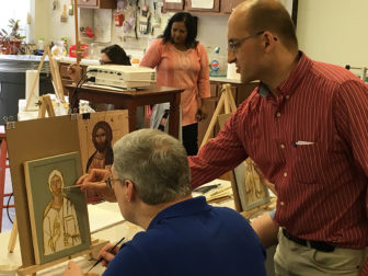 Philip Davydov, a Russian iconographer, teaches an iconography class at Wesley Theological Seminary, a United Methodist-affiliated . Photo courtesy of Wesley Theological Seminary