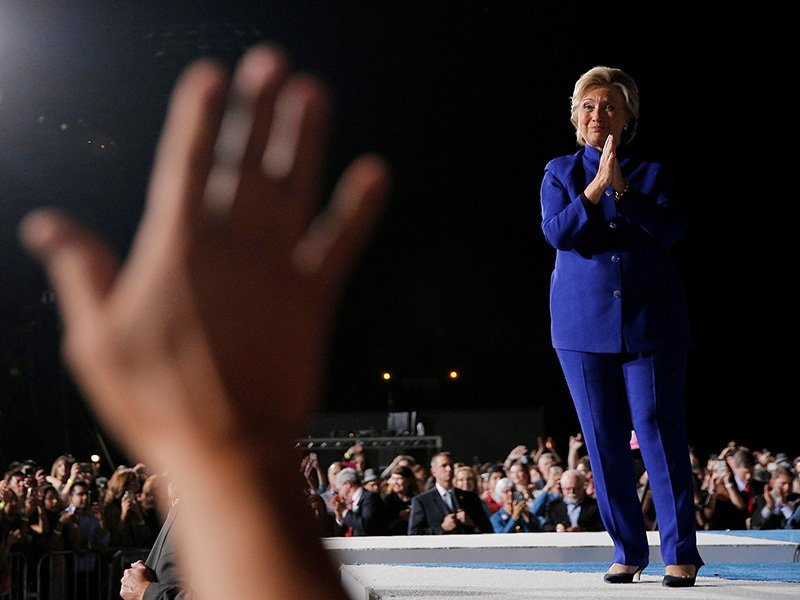 U.S. Democratic presidential nominee Hillary Clinton acknowledges the crowd at a campaign rally at Arizona State University in Tempe, Arizona, on November 2, 2016. Photo courtesy of Reuters/Brian Snyder *Editors: This photo may only be republished with RNS-MCGUIRE-OPED, originally transmitted on Nov. 3, 2016.
