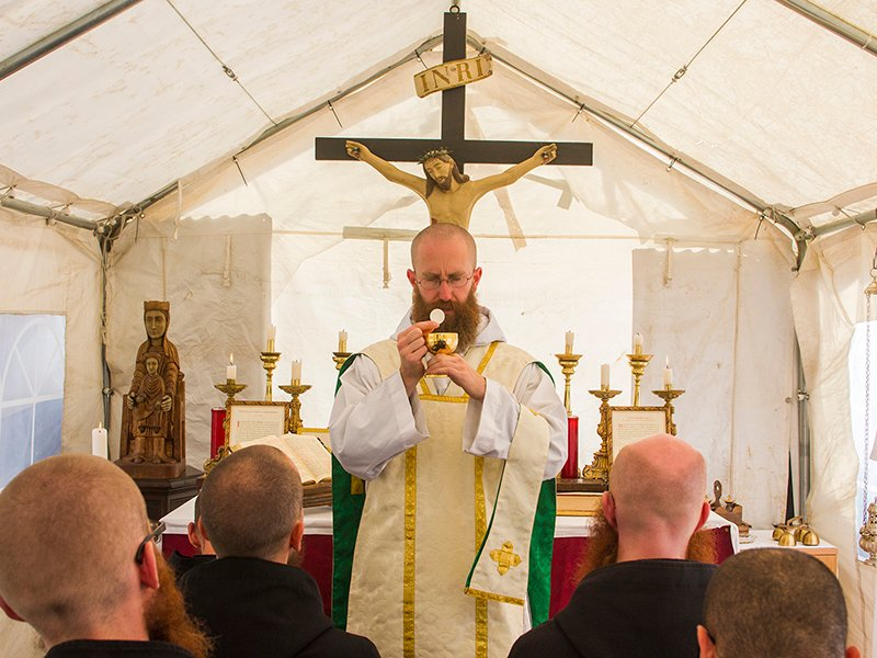 Father Benedict Nivakoff says Mass in September, 2016. Photo courtesy of The Monks of Norcia