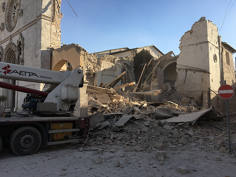 The Basilica in Norcia lays in ruins after the earthquake on Oct. 30, 2016. Photo courtesy of The Monks of Norcia