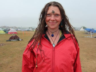Morgan MacIver is pictured Sept. 15, 2016, at the Oceti Sakowin Camp near the Standing Rock Sioux Reservation in North Dakota. MacIver, who is not Native American, came to the camp with a group of women from Vermont after hearing about the gathering on Facebook. RNS photo by Emily McFarlan Miller