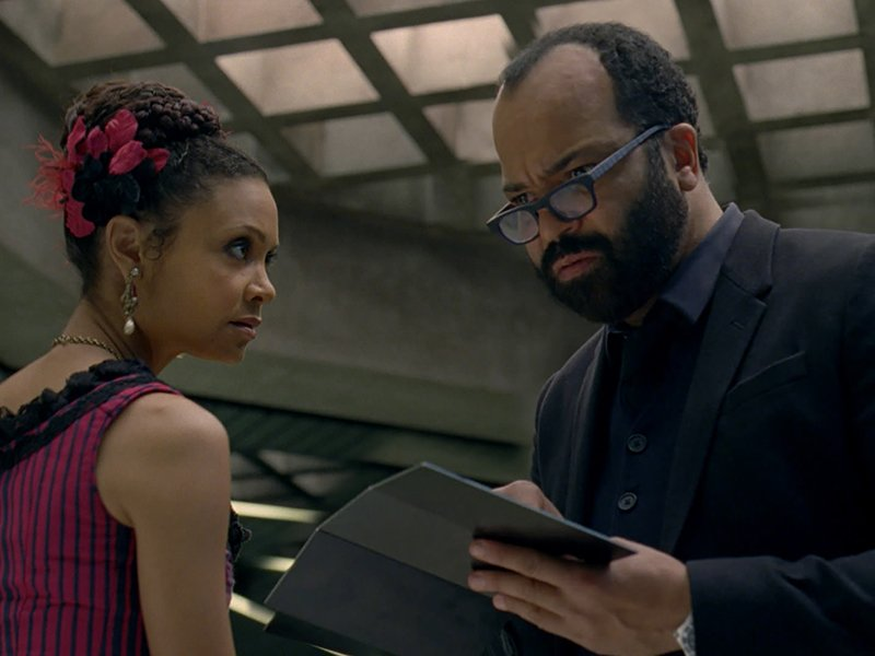 A scene from episode 9, with Thandie Newton, and Jeffrey Wright. Photo courtesy of HBO