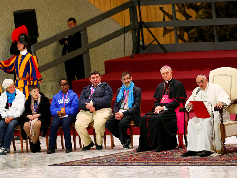 Pope Francis leads a Jubilee audience with socially excluded people in Paul VI hall at the Vatican on Nov. 11, 2016. Photo courtesy of REUTERS/Tony Gentile