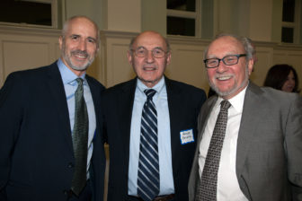 "L-R RNS National Correspondent David Gibson, who moderated the ""Election Aftermath: Faith & the Common Good"" panel discussion, with Deacon Renator Berzolla, of St. Catherine of Siena Parish, Riverside, Conn., who helped organize the evening event, with Dr. Mark Silk of Trinity College, Hartford, Conn., a panelist and RNS ""Spiritual Politics"" columnist."