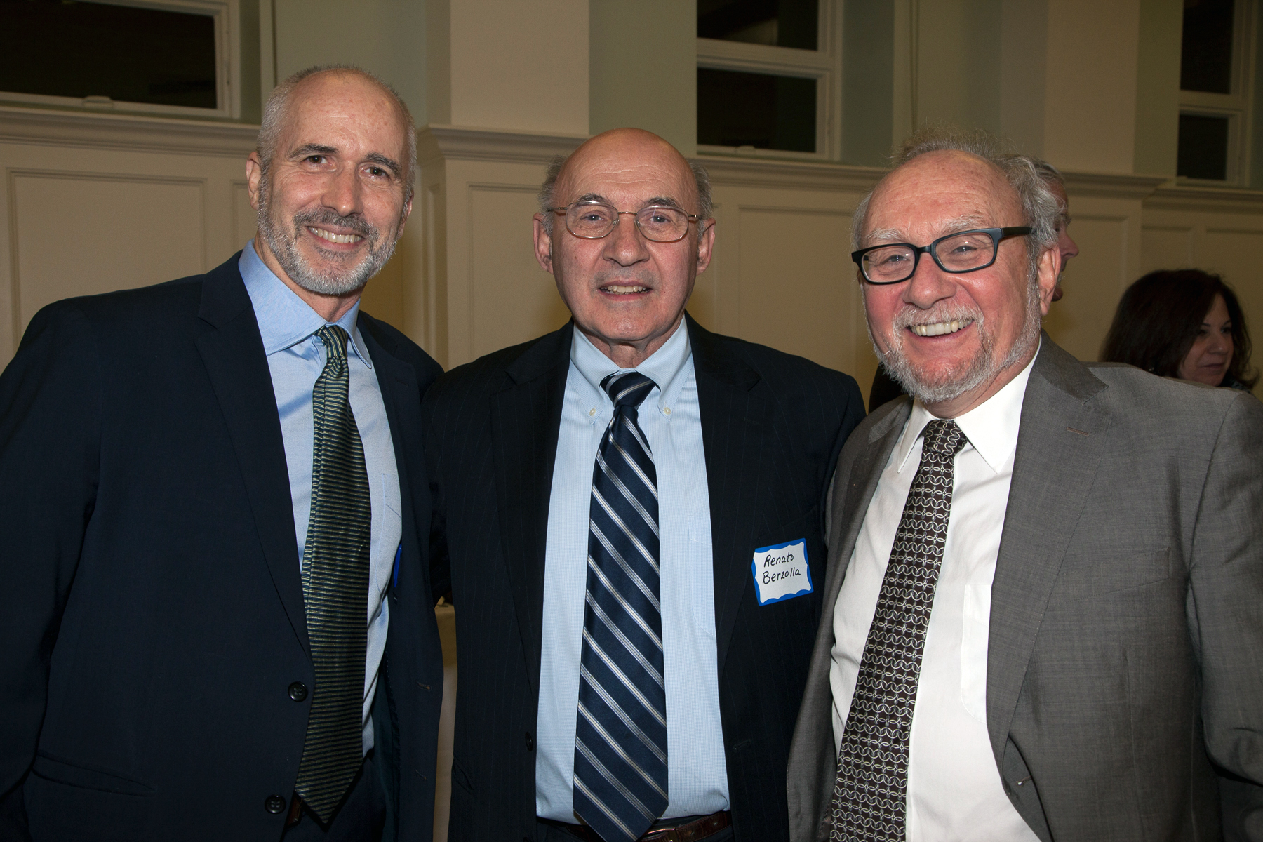 """L-R RNS National Correspondent David Gibson, who moderated the """"Election Aftermath: Faith & the Common Good"""" panel discussion, with Deacon Renator Berzolla, of St. Catherine of Siena Parish, Riverside, Conn., who helped organize the evening event, with Dr. Mark Silk of Trinity College, Hartford, Conn., a panelist and RNS """"Spiritual Politics"""" columnist."""