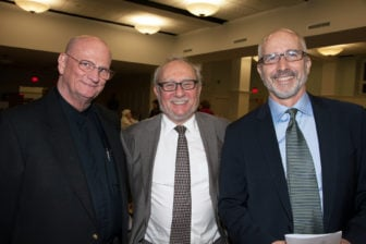"L-R Monsignor Alan F. Detscher, STD, pastor of St. Catherine of Siena Parish, Riverside, Conn., who co-hosted the evening event, with Dr. Mark Silk of Trinity College, Hartford, Conn., a panelist and RNS ""Spiritual Politics"" columnist, with RNS National Correspondent David Gibson, who moderated the Dec. 7, 2016, ""Election Aftermath: Faith & the Common Good"" panel discussion."