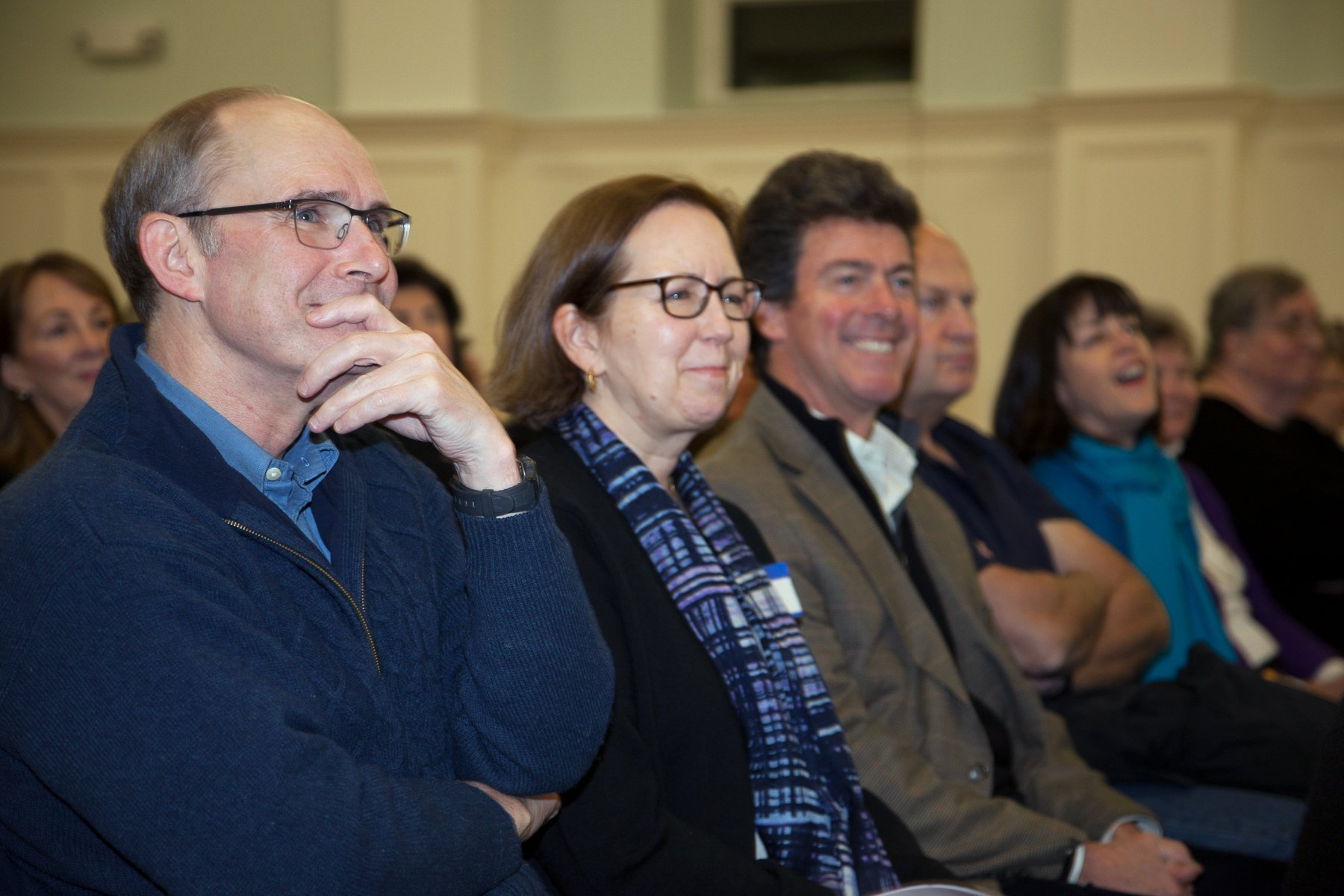 """Some of the 200 attendees enjoying the expert panel discussion titled, """"Election Aftermath: Faith & the Common Good,"""" held on Dec 7, 2016, at St. Catherine of Siena Parish, Riverside, Conn., and co-sponsored by Religion News Service."""