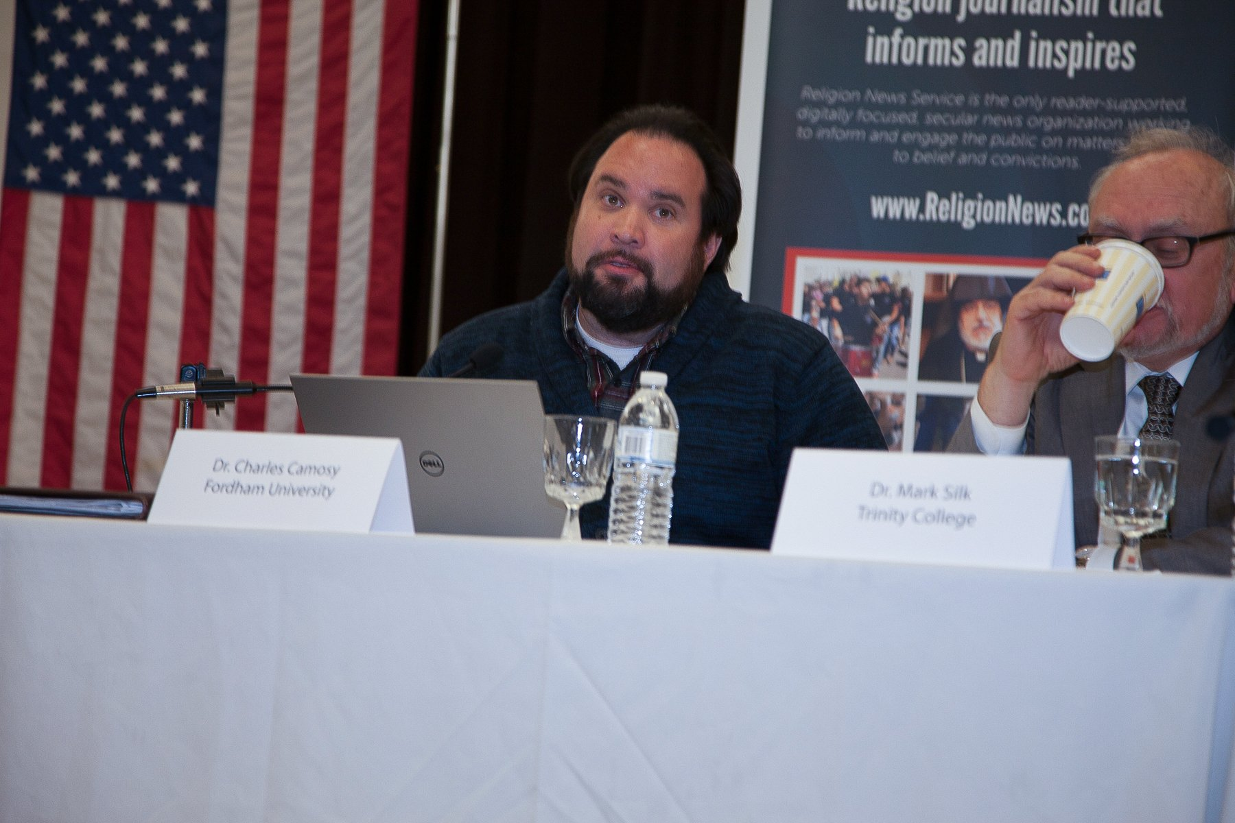 """L-R Professor Charlie Camosy offers a response during the """"Election Aftermath: Faith & the Common Good"""" expert panel discussion, held on Dec. 7, 2016, at St. Catherine of Siena Parish, Riverside, Conn., in front of an audience of some 200 people."""