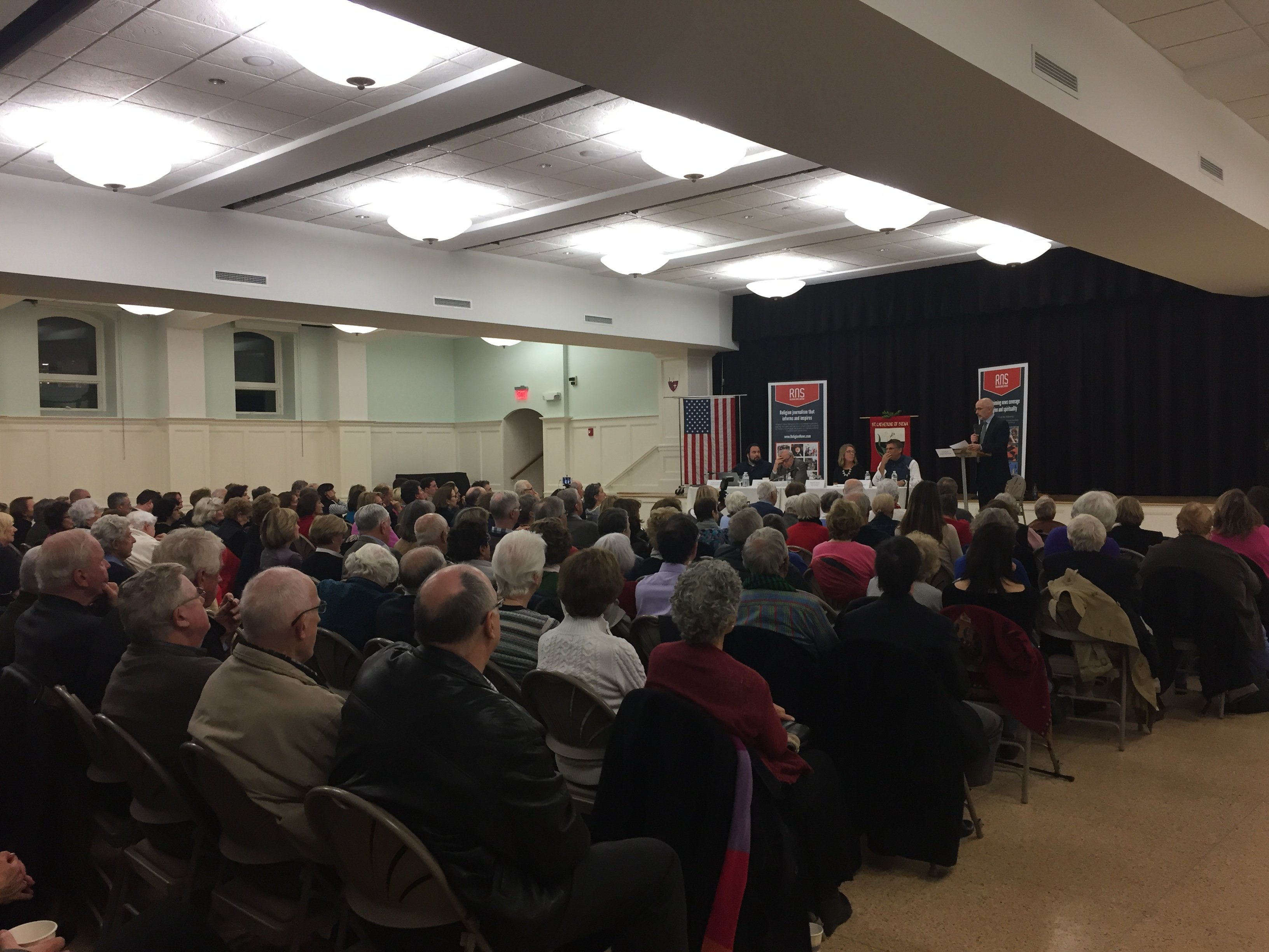 """Over 200 people attended an expert panel discussion titled, """"Election Aftermath: Faith & the Common Good,"""" co-sponsored by Religion News Service and St. Catherine of Siena Parish, Riverside, Conn."""