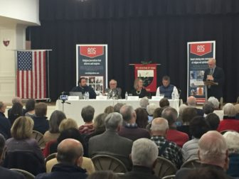 "RNS national reporter David Gibson introduces the expert panel titled, ""Election Aftermath: Faith & the Common Good, including (L-R) Dr. Charlie Camosy, Dr. Mark Silk, MaryAnn Murtha and Tom Scott, co-sponsored by the Religion News Service and St. Catherine of Siena Parish, Riverside, Conn."
