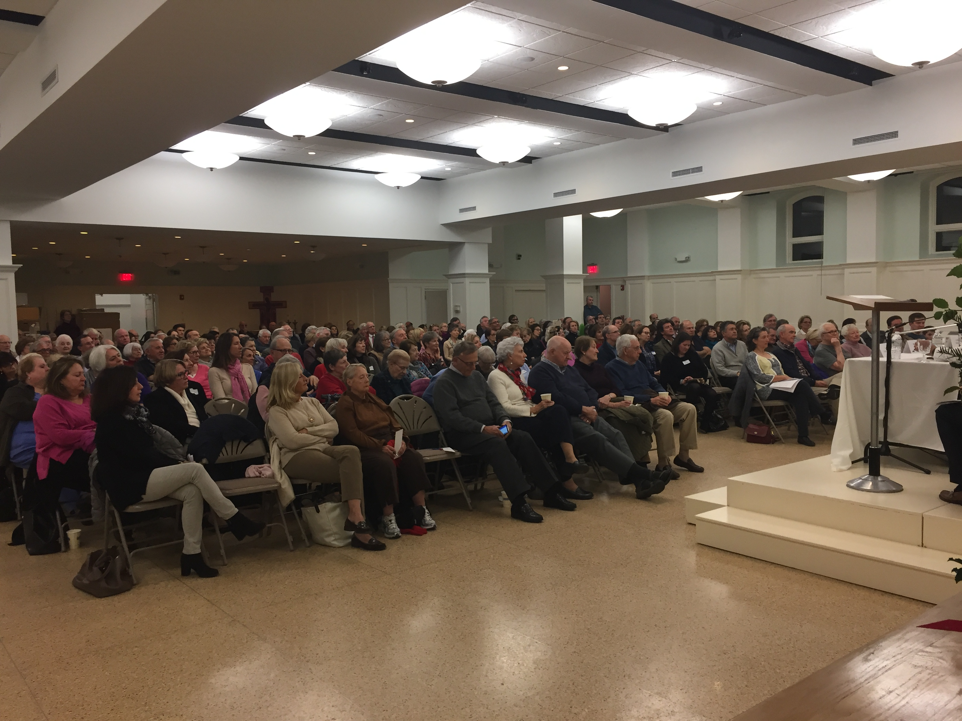 """Over 200 people attended an expert panel discussion titled, """"Election Aftermath: Faith & the Common Good,"""" co-sponsored by the Religion News Service and St. Catherine of Siena Parish, Riverside, Conn."""