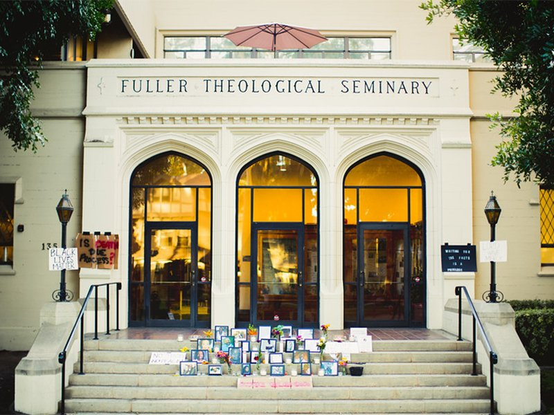 Fuller Theological Seminary students erected a memorial  to black people who lost their lives in police custody on the Payton Hall campus steps in Nov. 2016 in Pasadena, CA.  Photo courtesy of Fuller Theological Seminary