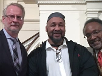 New York Theological Seminary's Dale Irvin, from left, student Zahir Murray and Rev. C. Vernon Mason attend an event at All Souls Unitarian Church in New York City that honored the founders of the Black Lives Matter movement. Irvin and Mason are co-teaching a Black Lives Matter class at the seminary and Murray is one of their students. Photo courtesy of Semiko Crider