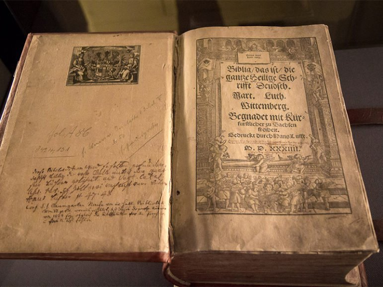 Luther Bible in the Lutherhaus in Wittenberg, Germany. Photo courtesy of Michael Turtle/German National Tourist Office