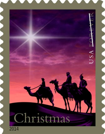 United States Postal Service stamp depicting the three Magi. Image courtesy of USPS