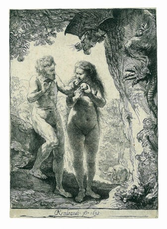 "Rembrandt's etching on ivory laid paper ""Adam and Eve"" (1638). Image courtesy of the Art Institute of Chicago"