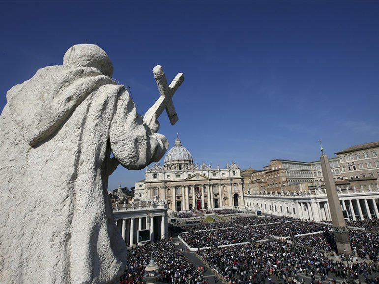 A general view is seen of Pope Francis leading the Easter Mass in St. Peter's Square at the Vatican on March 27, 2016. Photo courtesy of Reuters/Alessandro Bianchi