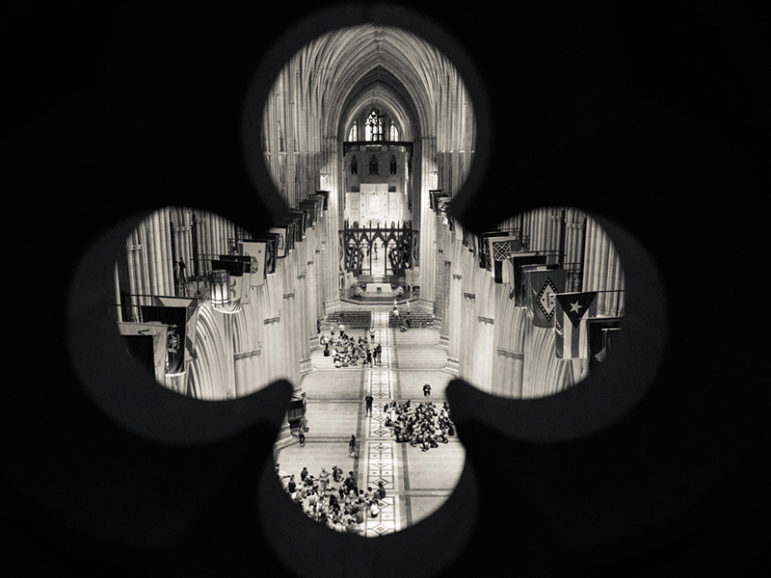 The Washington National Cathedral interior framed through a stone detail on the cathedral's balcony on June 12, 2015. RNS photo by Sally Morrow