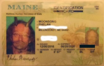 Phelan Moonsong's approved Maine identification card.  Photo courtesy of Phelan Moonsong