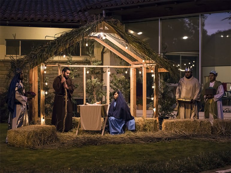 A Festival of Trees event includes a live Nativity scene at St. Anthony's Retreat in Three Rivers, Calif., on Nov. 17, 2016. Photo courtesy of Tommy Lee Kreger via Creative Commons