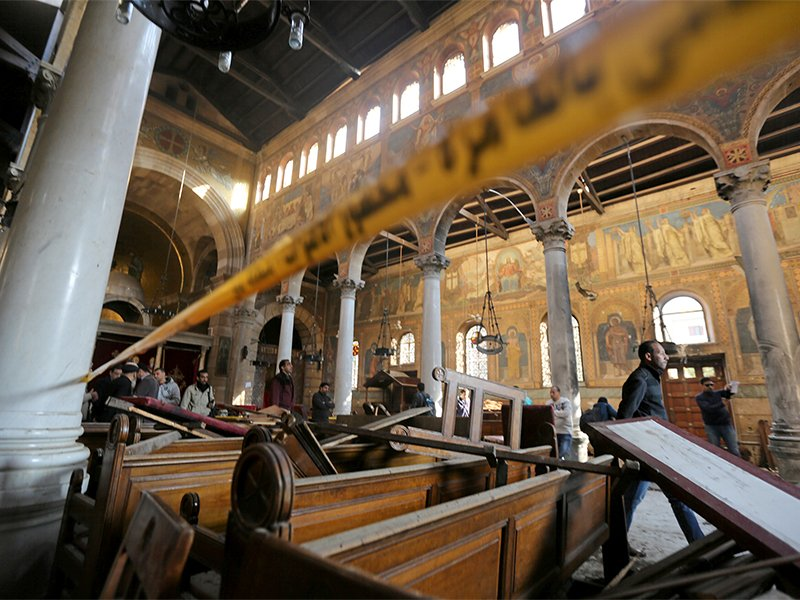 Damage from the explosion inside Cairo's Coptic Orthodox Cathedral is seen inside the cathedral in Cairo, Egypt on Dec. 11, 2016. Photo courtesy of Reuters/Mohamed Abd El Ghany
