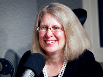 The Rev. Nancy Butler participates in a WNPR radio interview in April 2015.  Photo courtesy of Chion Wolf/WNPR