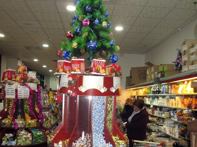 A Jerusalem store with a non-kosher clientele is decked out for Christmas. Although Hanukkah is the central winter holiday in most of Israel, Christmas is becoming more mainstream. RNS photo by Michele Chabin