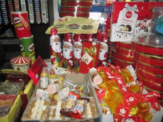 Christmas-themed items among other winter options at a store in Jerusalem. RNS photo by Michele Chabin