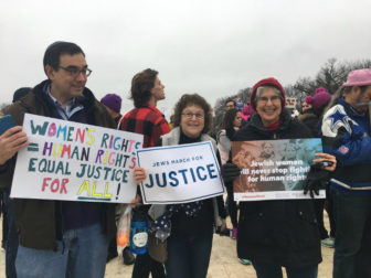 Andy Miller of Baltimore who came to the at the Women's March on Washington on Jan. 21, 2017 with Amy Chapper, center, and Margie Simon. RNS photo by Lauren Markoe