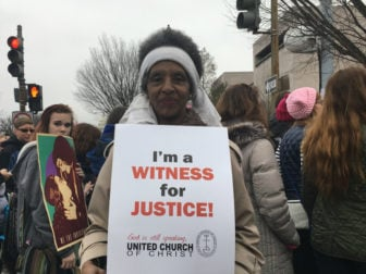 Kathryn Harris of Washington, D.C. at the National Women's March on the National Mall on Jan. 21, 2017. RNS photo by Lauren Markoe