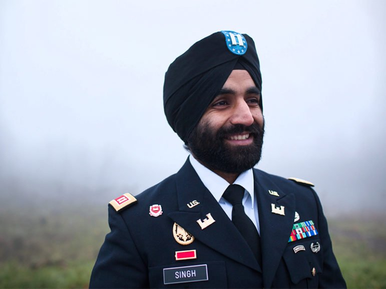 West Point graduate, Bronze Star Medal recipient and Sikh soldier Capt. Simratpal Singh in his military uniform with the approved religious accommodations of turban and beard. Photo courtesy of Becket Law