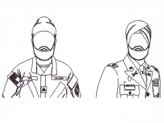 Illustration of approved turban use for religious accommodation. Illustration courtesy of the Department of Defense