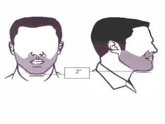 Illustration of approved beard lengths for religious accommodation. Illustration courtesy of the Department of Defense
