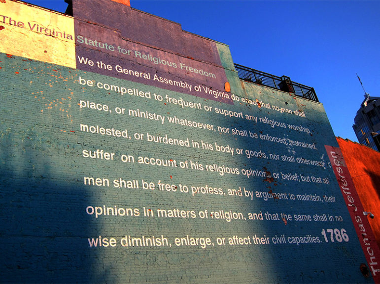 The Virginia Statute for Religious Freedom covers the side of a building in Richmond, Va., on March 14, 2012. Photo courtesy of Taber Andrew Bain via Creative Commons