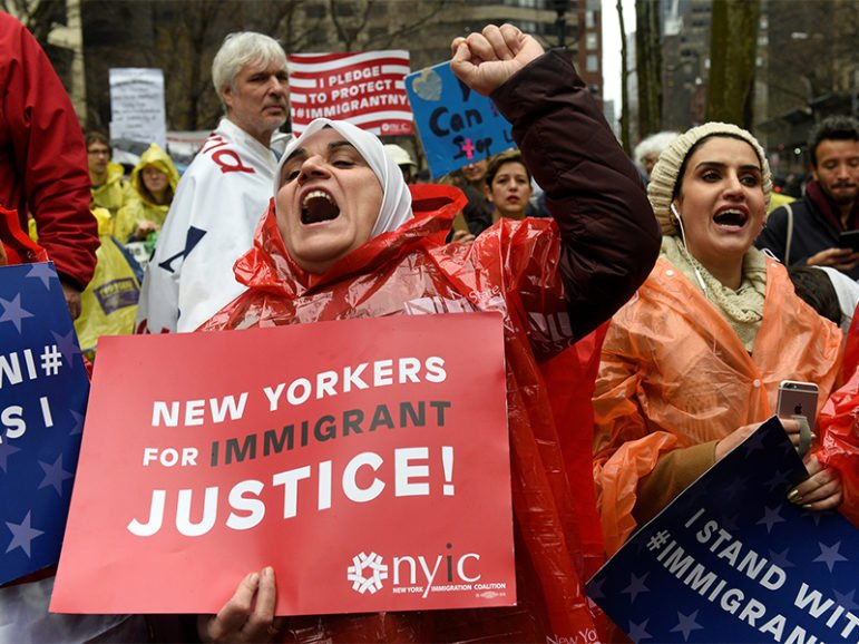 Palestinian American Manal Kawas, whose husband was deported from the United States, shouts while  marching to Trump Tower during a protest organized by the New York Immigration Coalition against President-elect Donald Trump in the Manhattan borough of  New York, on Dec. 18, 2016. Photo courtesy of Reuters/Darren Ornitz